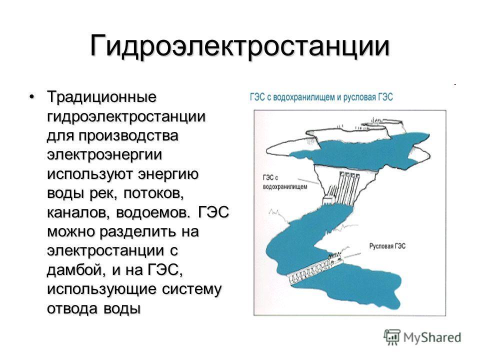 Гидроэлектростанции Традиционные гидроэлектростанции для производства электроэнергии используют энергию воды рек, потоков, каналов, водоемов. ГЭС можно разделить на электростанции с дамбой, и на ГЭС, использующие систему отвода водыТрадиционные гидро