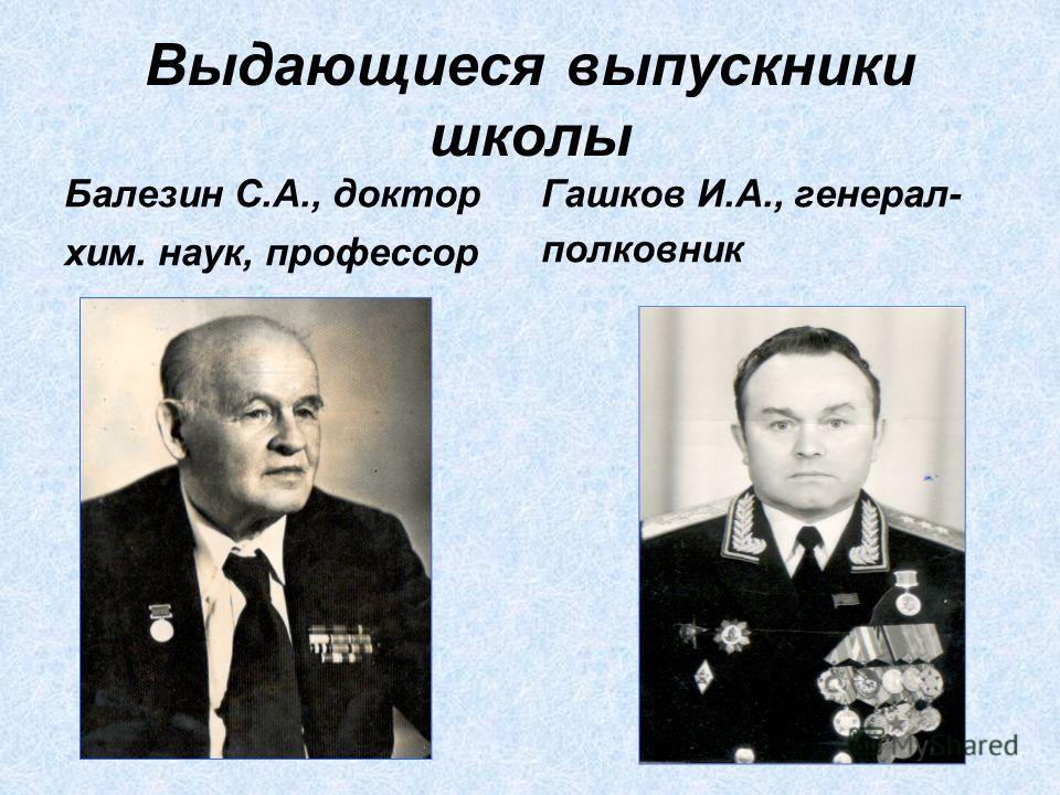 Выдающиеся выпускники школы Балезин С.А., доктор хим. наук, профессор Гашков И.А., генерал- полковник