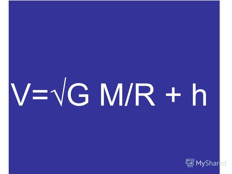 v = g r V = 7,9 км/с первая космическая скорость V=G M/R + h