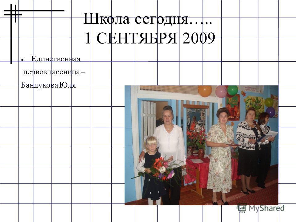 Школа сегодня….. 1 СЕНТЯБРЯ 2009 Единственная первоклассница – Бандукова Юля