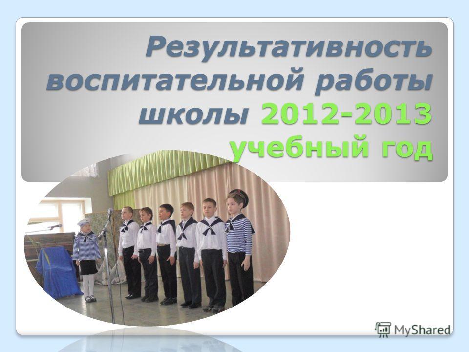 Результативность воспитательной работы школы 2012-2013 учебный год