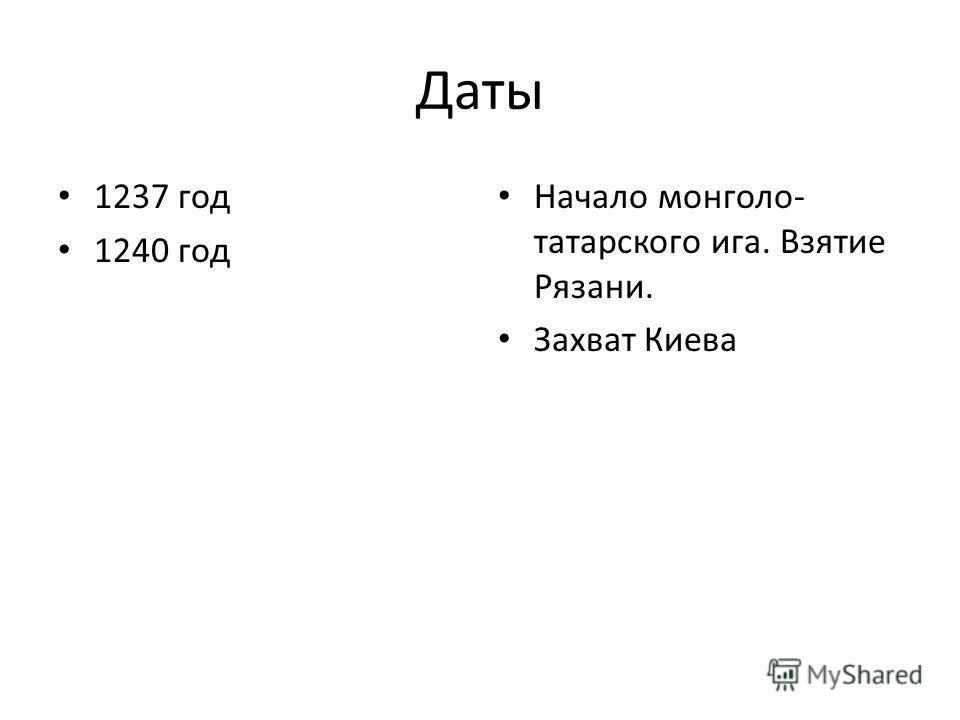 Даты 1237 год 1240 год Начало монголо- татарского ига. Взятие Рязани. Захват Киева