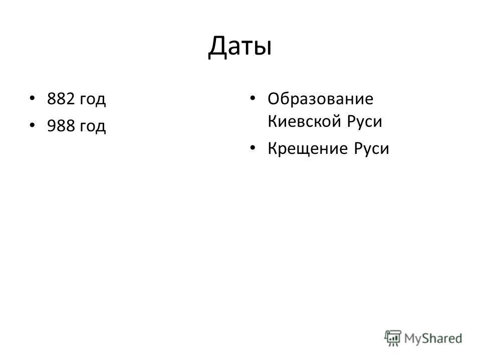 Даты 882 год 988 год Образование Киевской Руси Крещение Руси
