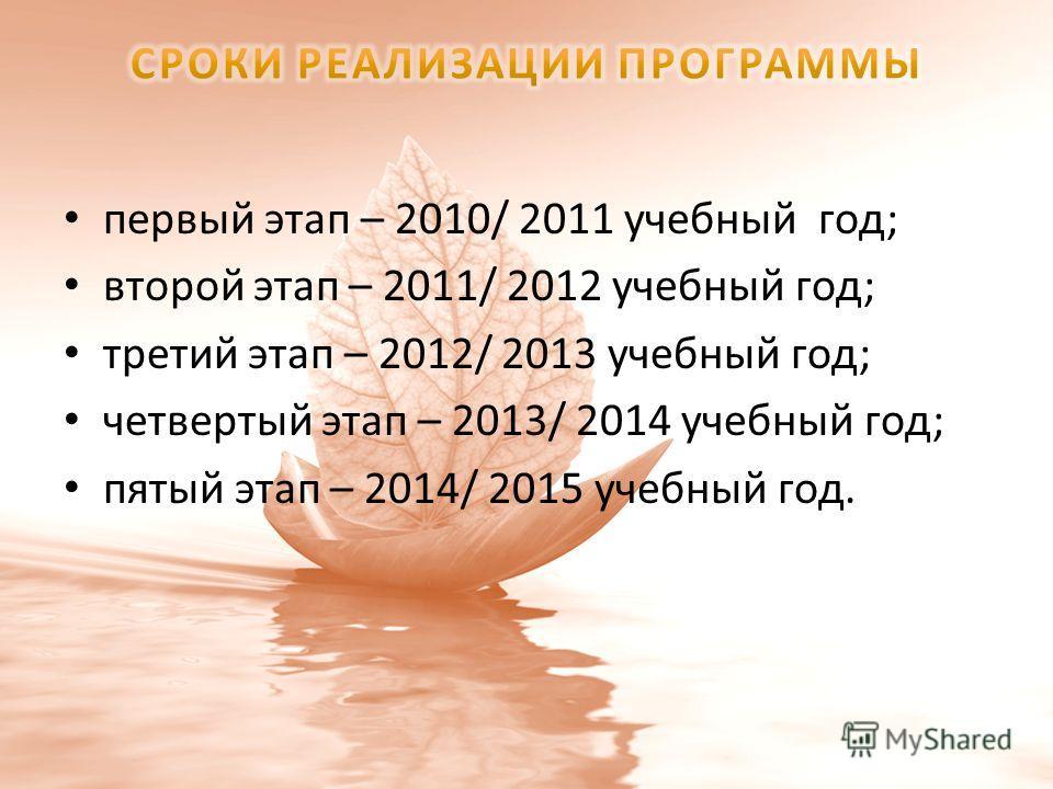 первый этап – 2010/ 2011 учебный год; второй этап – 2011/ 2012 учебный год; третий этап – 2012/ 2013 учебный год; четвертый этап – 2013/ 2014 учебный год; пятый этап – 2014/ 2015 учебный год.