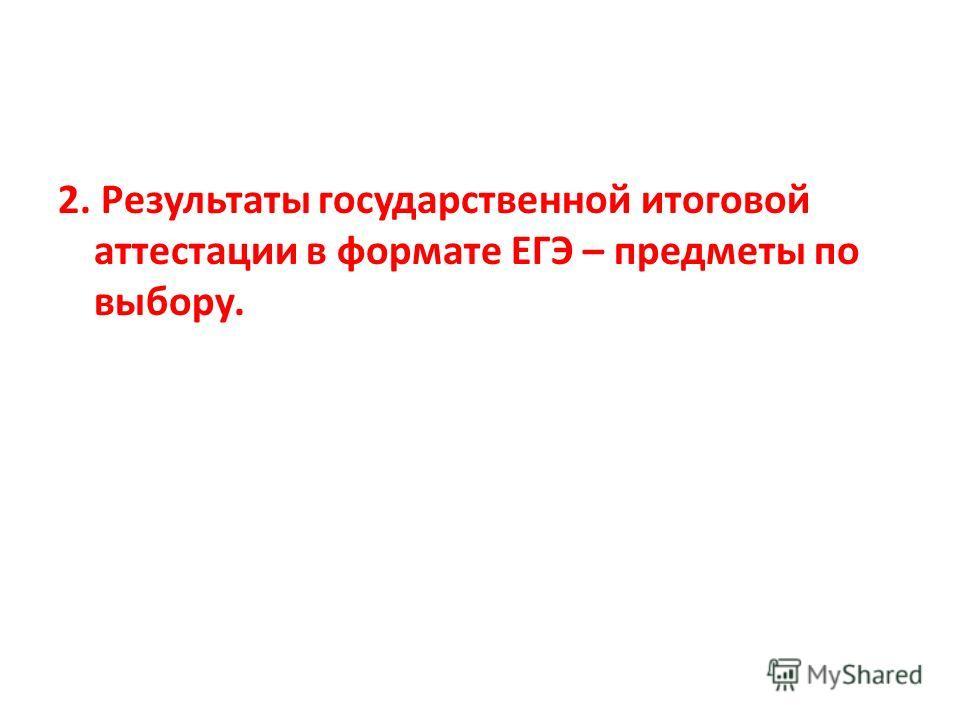 2. Результаты государственной итоговой аттестации в формате ЕГЭ – предметы по выбору.