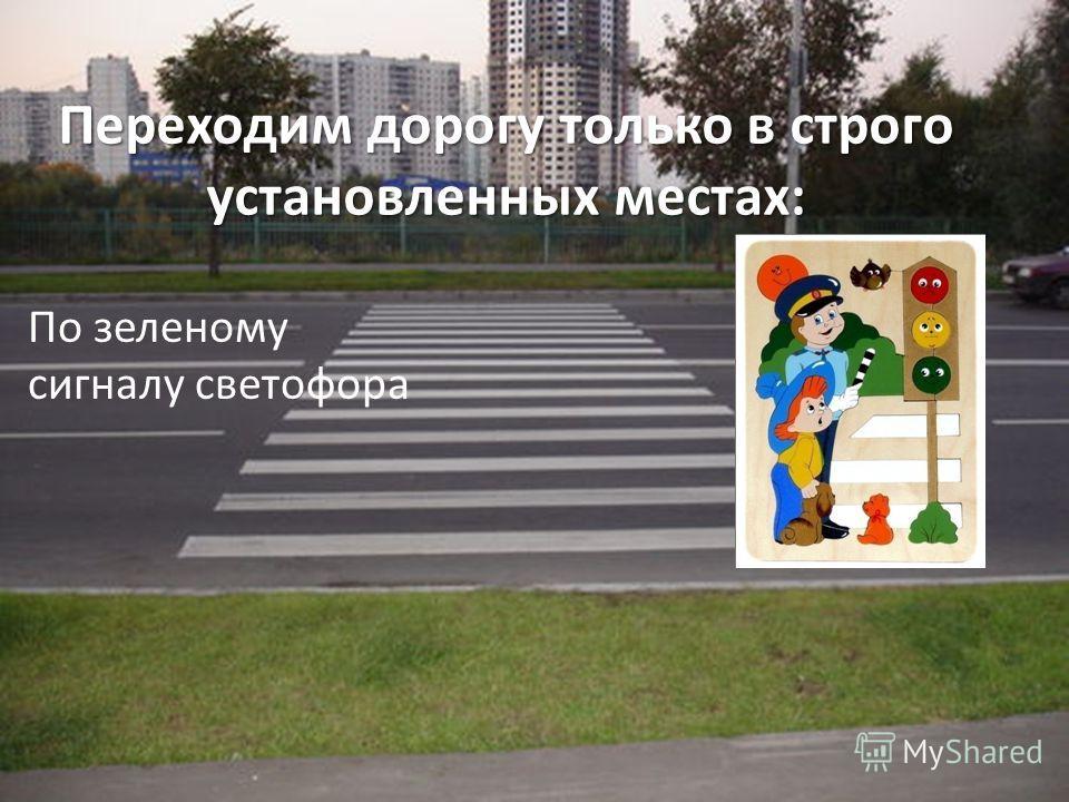 Переходим дорогу только в строго установленных местах: По зеленому сигналу светофора