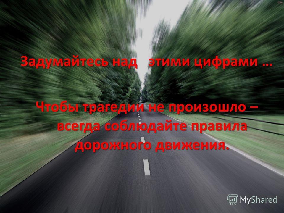 Задумайтесь над этими цифрами … Чтобы трагедии не произошло – всегда соблюдайте правила дорожного движения.