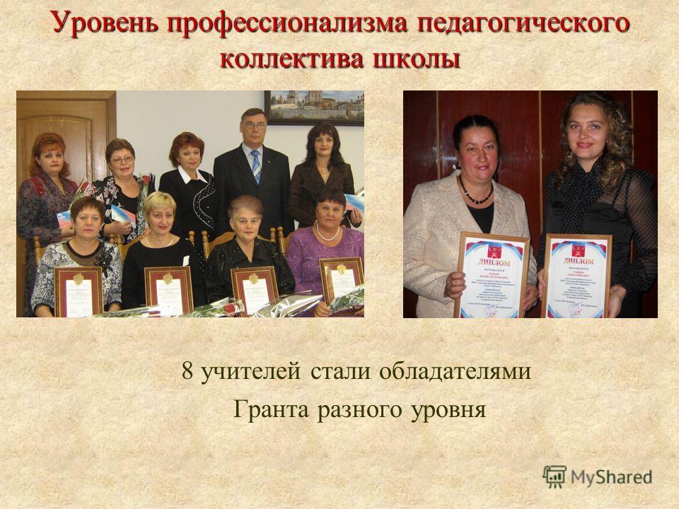 Уровень профессионализма педагогического коллектива школы 8 учителей стали обладателями Гранта разного уровня