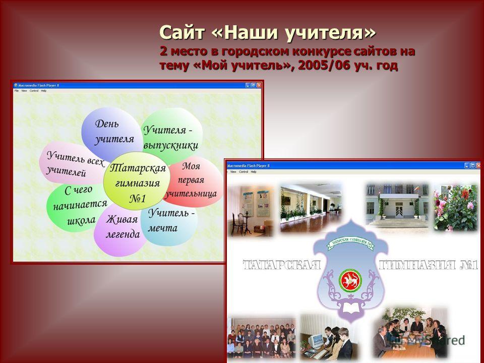 Сайт «Наши учителя» 2 место в городском конкурсе сайтов на тему «Мой учитель», 2005/06 уч. год