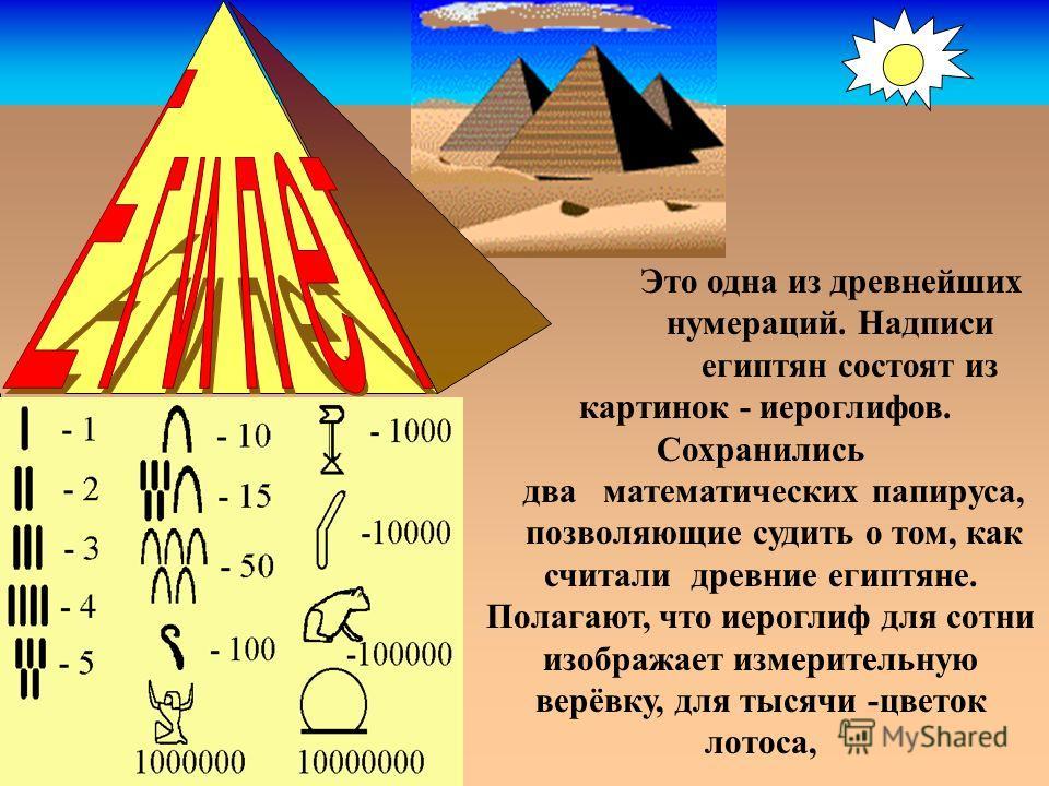 Это одна из древнейших нумераций. Надписи египтян состоят из картинок - иероглифов. Сохранились два математических папируса, позволяющие судить о том, как считали древние египтяне. Полагают, что иероглиф для сотни изображает измерительную верёвку, дл