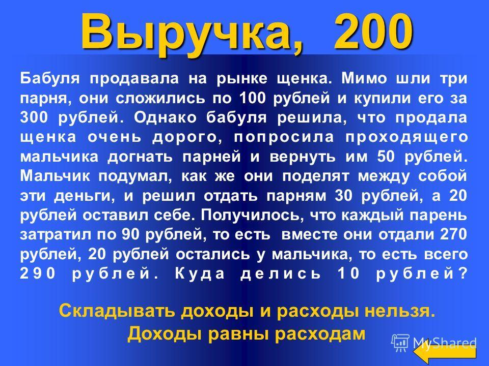 Выручка, 200 Бабуля продавала на рынке щенка. Мимо шли три парня, они сложились по 100 рублей и купили его за 300 рублей. Однако бабуля решила, что продала щенка очень дорого, попросила проходящего мальчика догнать парней и вернуть им 50 рублей. Маль