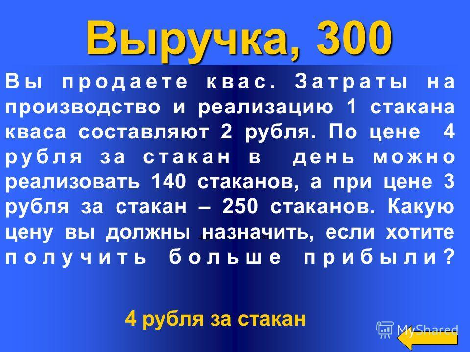 4 рубля за стакан Выручка, 300 Вы продаете квас. Затраты на производство и реализацию 1 стакана кваса составляют 2 рубля. По цене 4 рубля за стакан в день можно реализовать 140 стаканов, а при цене 3 рубля за стакан – 250 стаканов. Какую цену вы долж