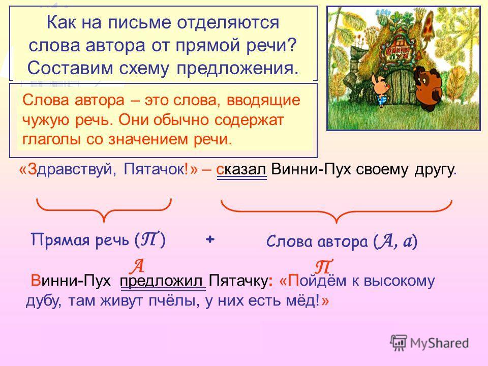 Из каких частей состоят предложения с прямой речью? «Здравствуй, Пятачок!» – сказал Винни-Пух своему другу. Прямая речь ( П ) + Слова автора ( А, а ) Винни-Пух предложил Пятачку: «Пойдём к высокому дубу, там живут пчёлы, у них есть мёд!» Что такое «с