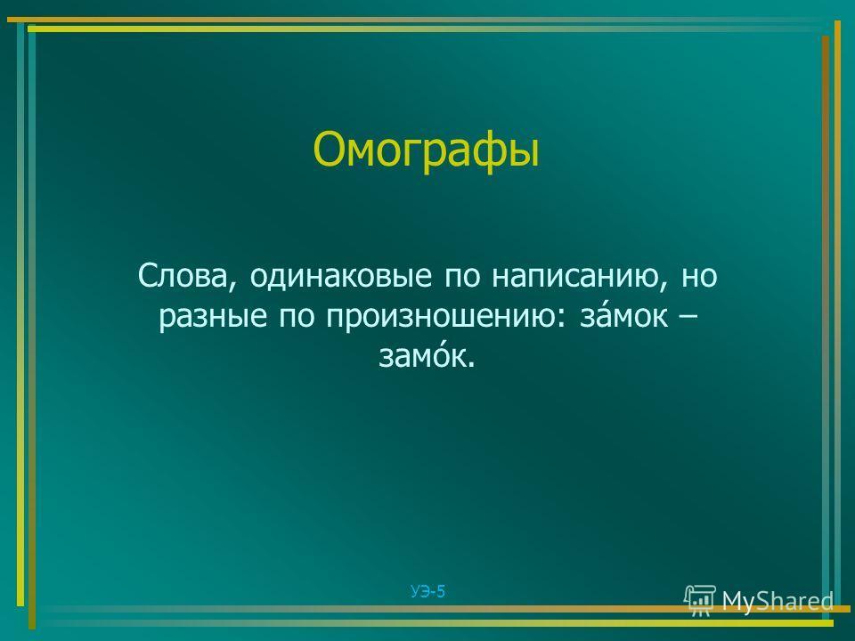 Омографы Слова, одинаковые по написанию, но разные по произношению: за́мок – замо́к. УЭ-5