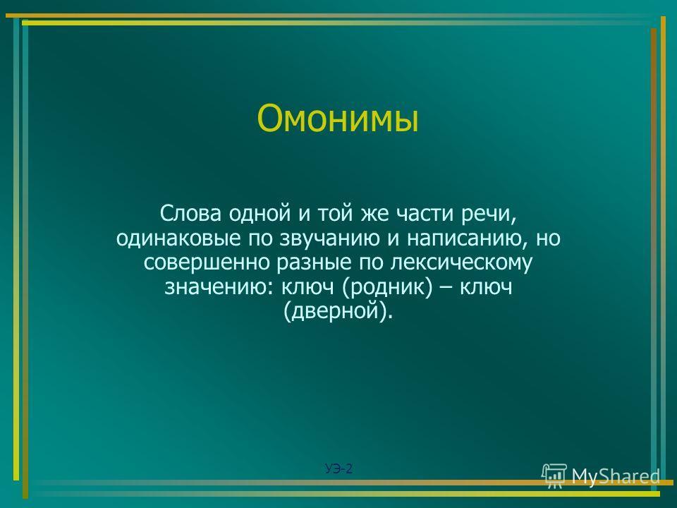 Омонимы Слова одной и той же части речи, одинаковые по звучанию и написанию, но совершенно разные по лексическому значению: ключ (родник) – ключ (дверной). УЭ-2
