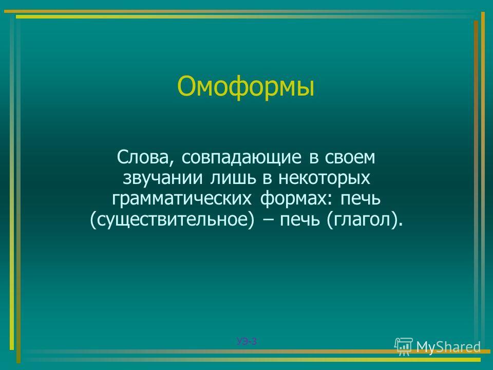 Омоформы Слова, совпадающие в своем звучании лишь в некоторых грамматических формах: печь (существительное) – печь (глагол). УЭ-3
