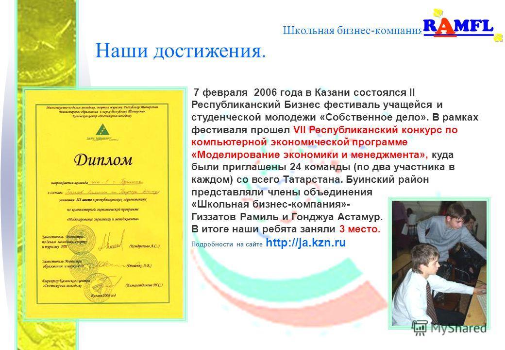 Школьная бизнес-компания Наши достижения. 7 февраля 2006 года в Казани состоялся II Республиканский Бизнес фестиваль учащейся и студенческой молодежи «Собственное дело». В рамках фестиваля прошел VII Республиканский конкурс по компьютерной экономичес