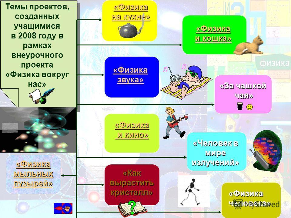 Темы проектов, созданных учащимися в 2008 году в рамках внеурочного проекта «Физика вокруг нас» «Физика на кухне» на кухне» «Физика звука» «Физика и кино» и кино» «Физика и кошка» и кошка» «За чашкой чая» чая» «Человек в мире излучений» «Физика челов