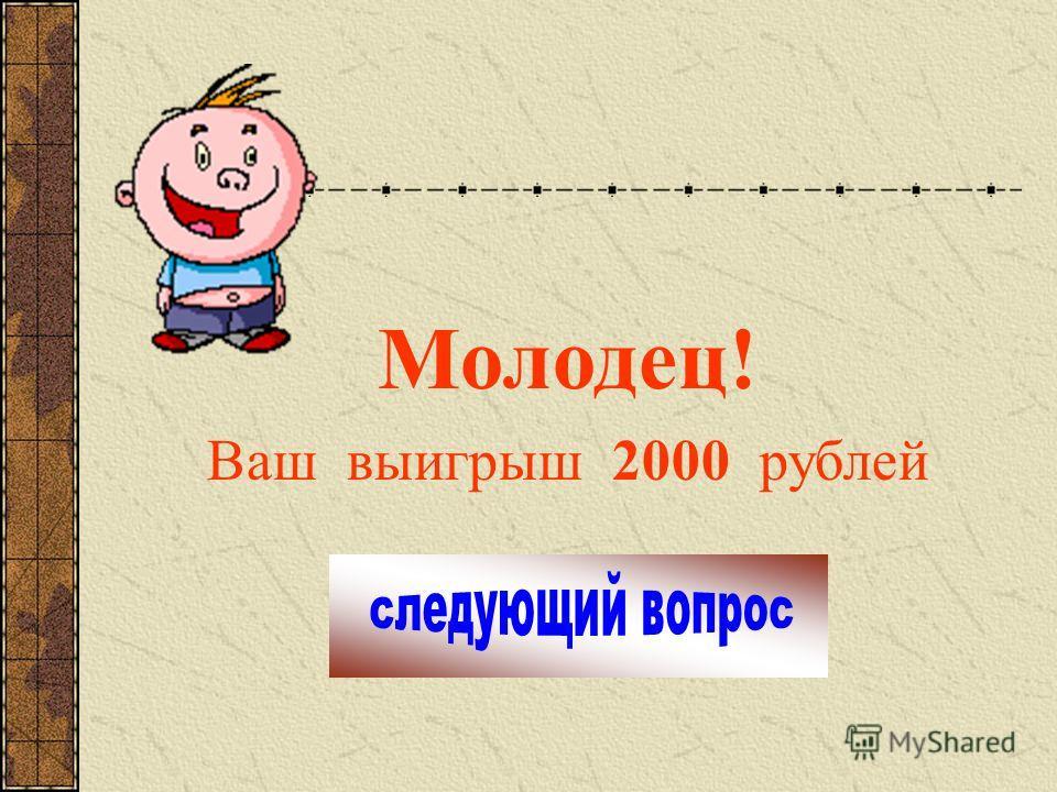 Молодец! Ваш выигрыш 2000 рублей