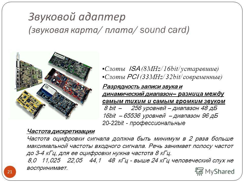 Графические режимы 20 РежимРазрешение (гор. x вер.) VGA640x480 SVGA800x600 XGA1024x768 SXGA1280x1024 UXGA1600x1200 А А SVGA XGA 800 600 1024 768