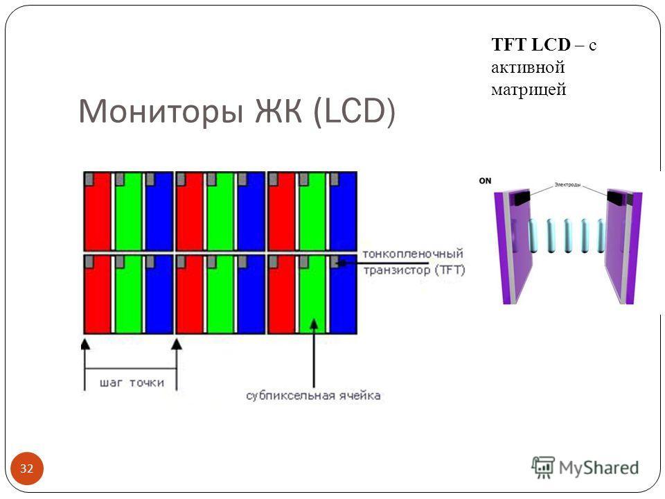 Мониторы ЖК (LCD) 31 ЖК – жидко- кристаллические LCD – Liquid Crystal Display Управление светом лампы подсветки, проходящим через слой жидких кристаллов за счёт изменения ими плоскости поляризации.