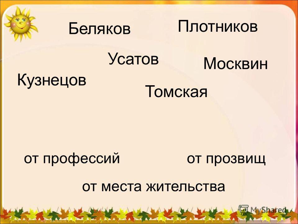 Кузнецов Беляков Плотников Усатов Москвин Томская от профессий от места жительства от прозвищ