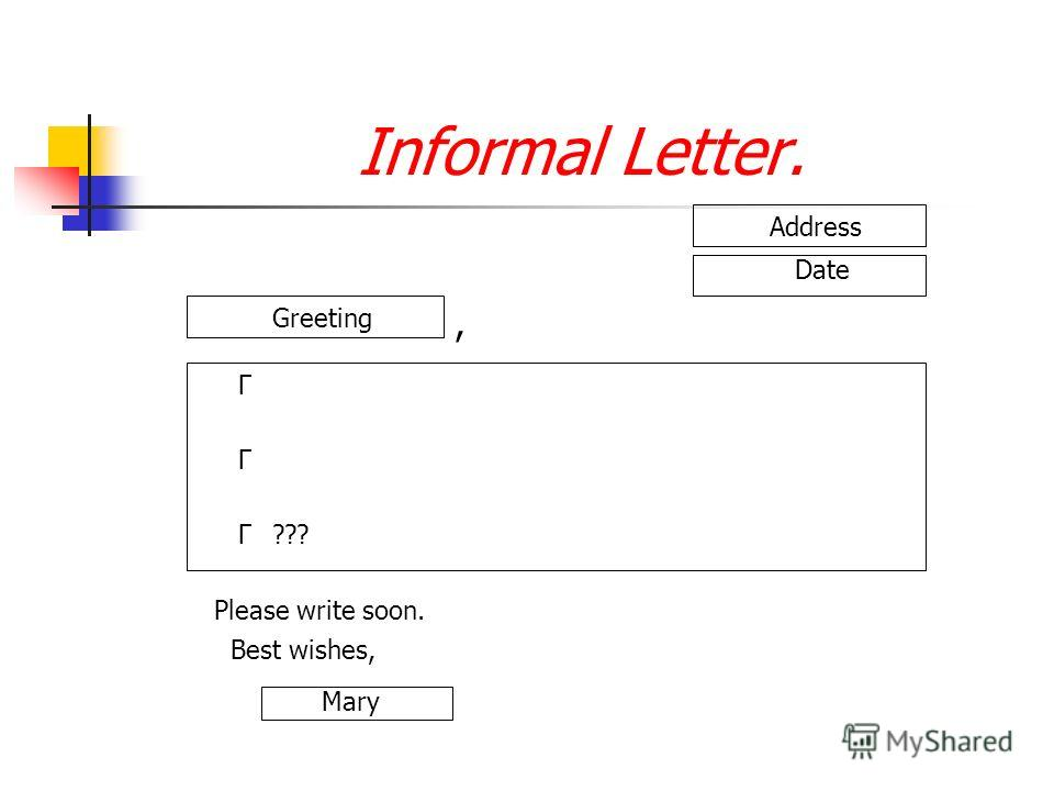 Informal Letter. Address Date Greeting, Г Г Г??? Please write soon. Best wishes, Mary