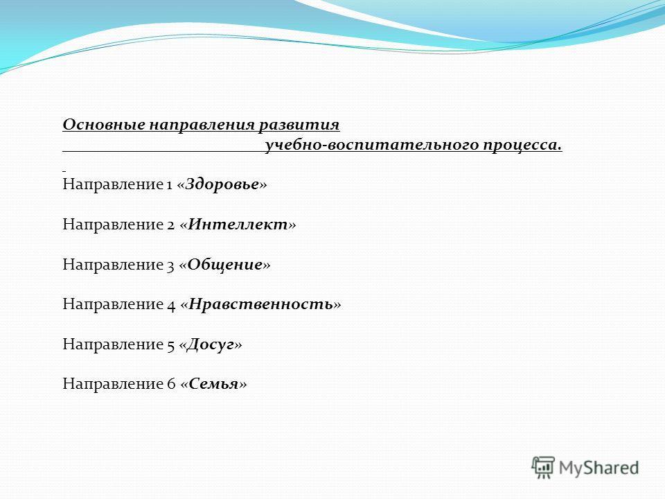 Основные направления развития учебно-воспитательного процесса. Направление 1 «Здоровье» Направление 2 «Интеллект» Направление 3 «Общение» Направление 4 «Нравственность» Направление 5 «Досуг» Направление 6 «Семья»