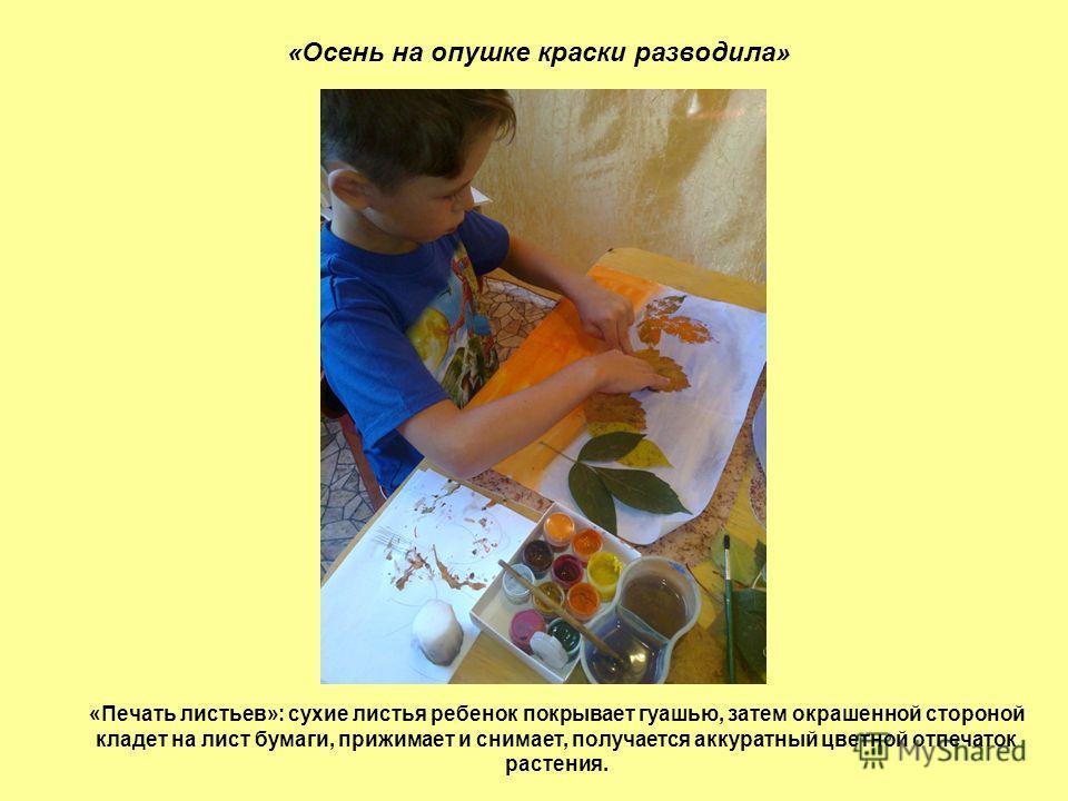 «Осень на опушке краски разводила» «Печать листьев»: сухие листья ребенок покрывает гуашью, затем окрашенной стороной кладет на лист бумаги, прижимает и снимает, получается аккуратный цветной отпечаток растения.