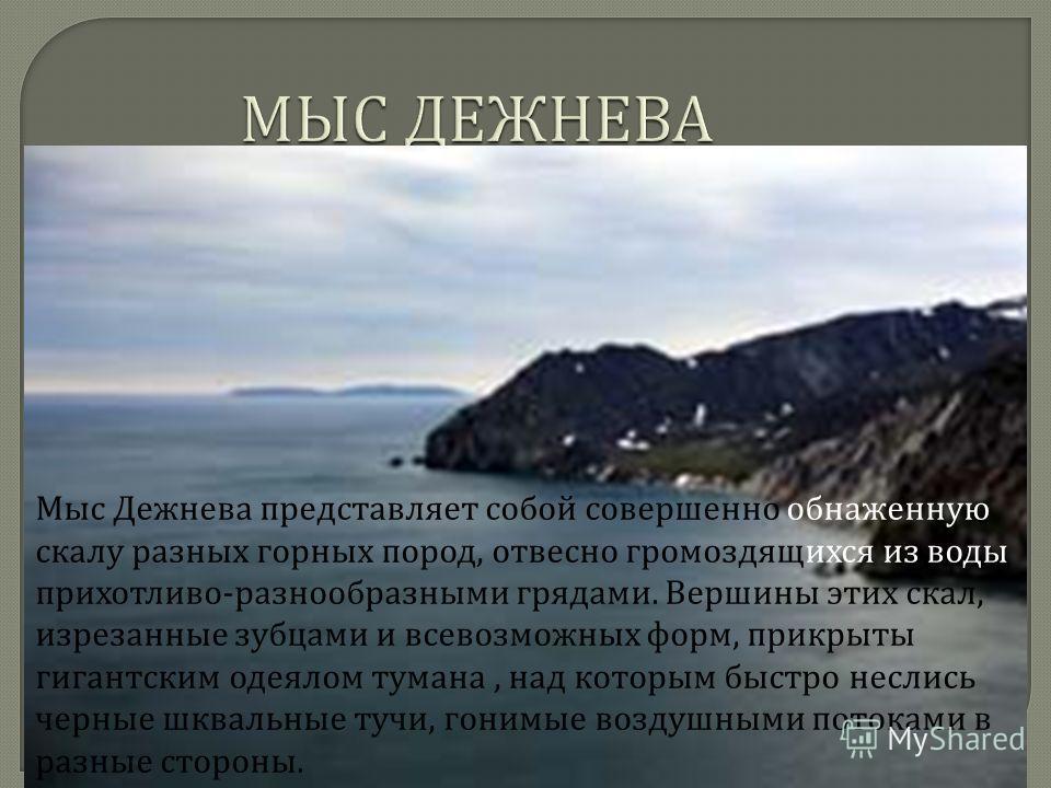 МЫС ДЕЖНЕВА Мыс Дежнева представляет собой совершенно обнаженную скалу разных горных пород, отвесно громоздящихся из воды прихотливо - разнообразными грядами. Вершины этих скал, изрезанные зубцами и всевозможных форм, прикрыты гигантским одеялом тума