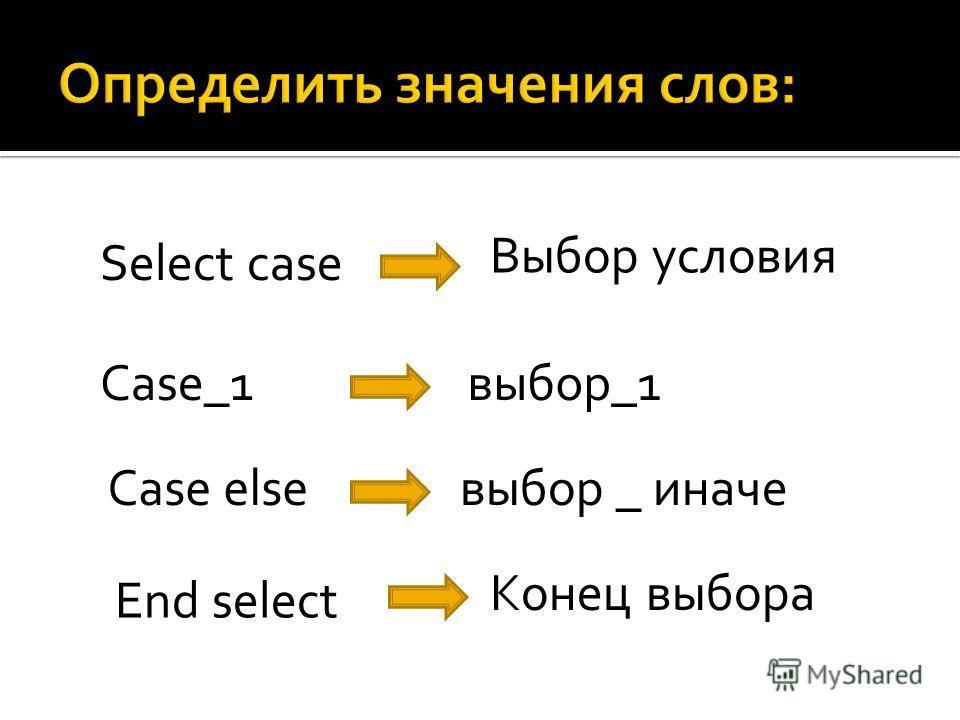 Select case Case_1 Case else End select Выбор условия выбор_1 выбор _ иначе Конец выбора