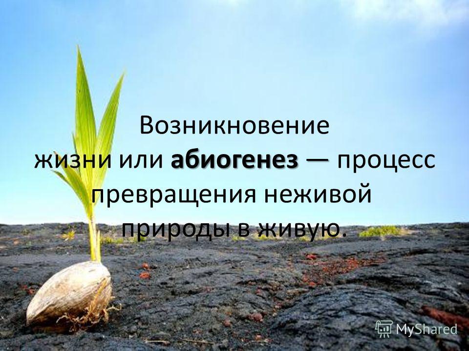 абиогенез Возникновение жизни или абиогенез процесс превращения неживой природы в живую.
