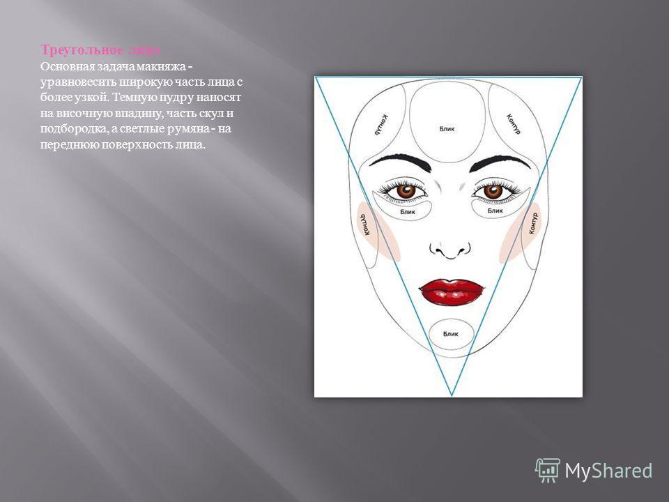 Треугольное лицо Основная задача макияжа - уравновесить широкую часть лица с более узкой. Темную пудру наносят на височную впадину, часть скул и подбородка, а светлые румяна - на переднюю поверхность лица.