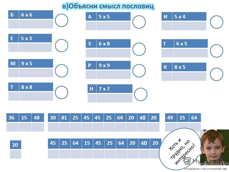 20 Б6 х 6 Е5 х 3 М9 х 5 К8 х 5 Г6 х 5 Н7 х 7 Р9 х 9 З6 х 8 А5 х 5И5 х 4 Т8 х 8 36154830812545 2564204040 491564 45256415452564204040 Без грамматики нет и математики Хоть и трудно, но интересно!