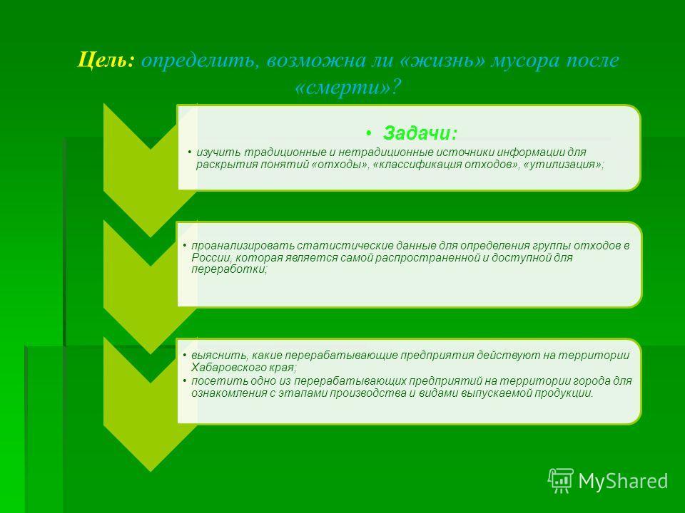 Задачи: изучить традиционные и нетрадиционные источники информации для раскрытия понятий «отходы», «классификация отходов», «утилизация»; проанализировать статистические данные для определения группы отходов в России, которая является самой распростр