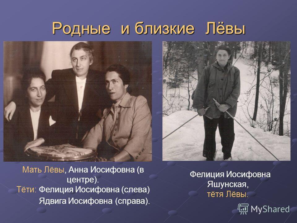 Родные и близкие Лёвы Мать Лёвы, Анна Иосифовна (в центре). Тёти: Фелиция Иосифовна (слева) Ядвига Иосифовна (справа). Фелиция Иосифовна Яшунская, тётя Лёвы.