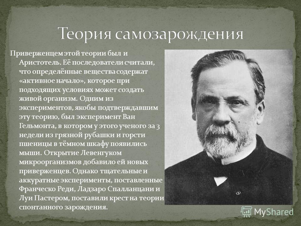 Приверженцем этой теории был и Аристотель. Её последователи считали, что определённые вещества содержат «активное начало», которое при подходящих условиях может создать живой организм. Одним из экспериментов, якобы подтверждавшим эту теорию, был эксп