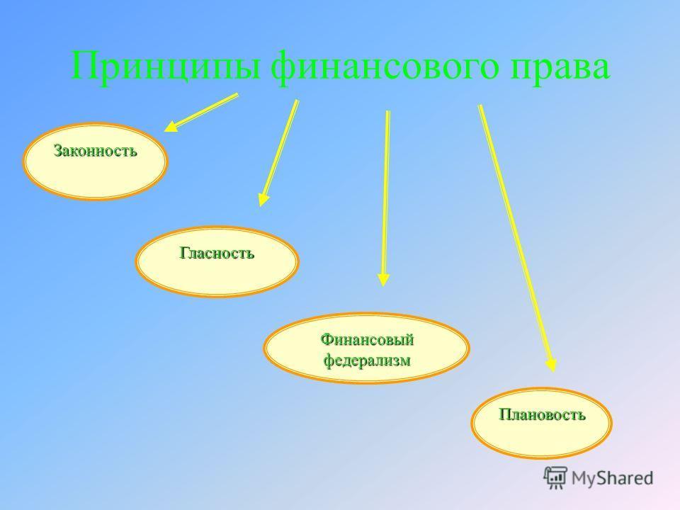 Принципы финансового права Законность Финансовый федерализм Гласность Плановость