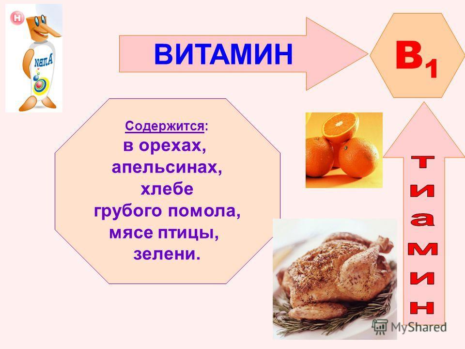 ВИТАМИН B1B1 Содержится: в орехах, апельсинах, хлебе грубого помола, мясе птицы, зелени.