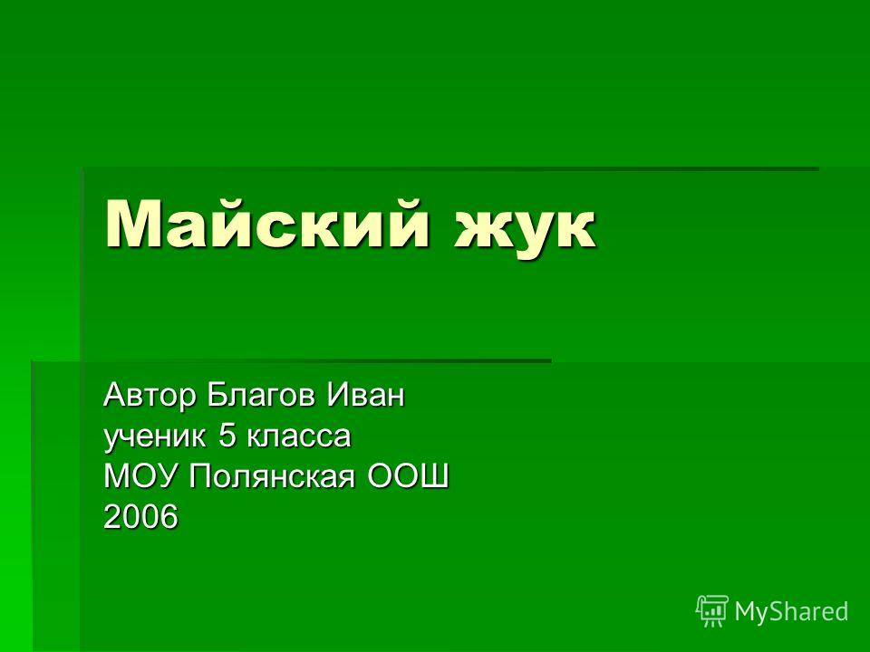 Майский жук Автор Благов Иван ученик 5 класса МОУ Полянская ООШ 2006