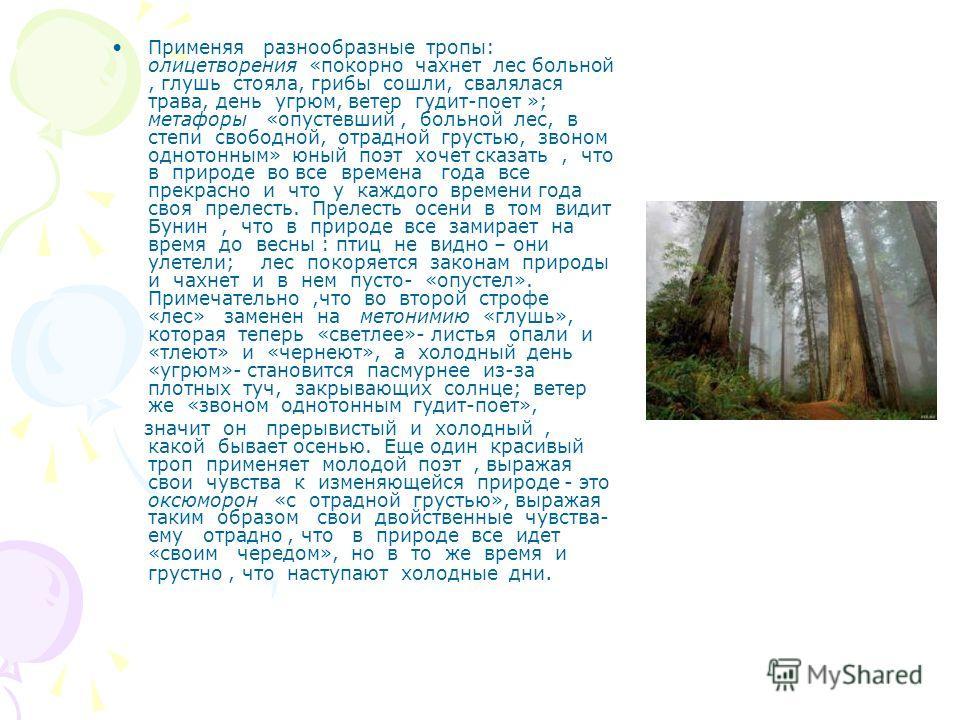 Применяя разнообразные тропы: олицетворения «покорно чахнет лес больной, глушь стояла, грибы сошли, свалялася трава, день угрюм, ветер гудит-поет »; метафоры «опустевший, больной лес, в степи свободной, отрадной грустью, звоном однотонным» юный поэт