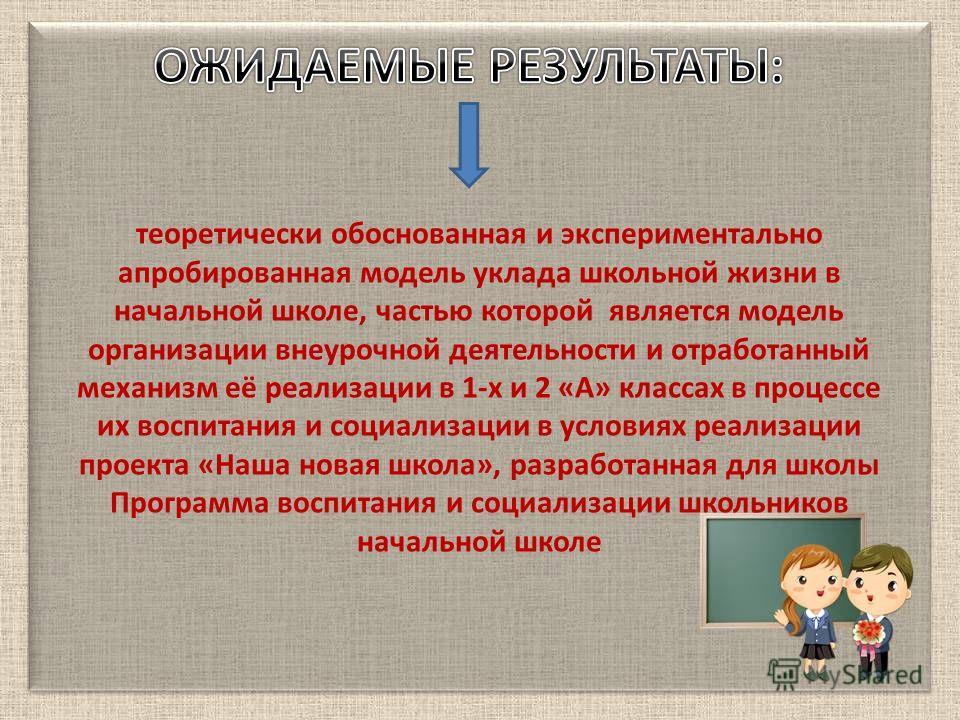 теоретически обоснованная и экспериментально апробированная модель уклада школьной жизни в начальной школе, частью которой является модель организации внеурочной деятельности и отработанный механизм её реализации в 1-х и 2 «А» классах в процессе их в