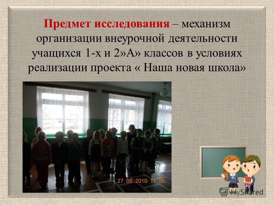 Предмет исследования – механизм организации внеурочной деятельности учащихся 1-х и 2»А» классов в условиях реализации проекта « Наша новая школа»