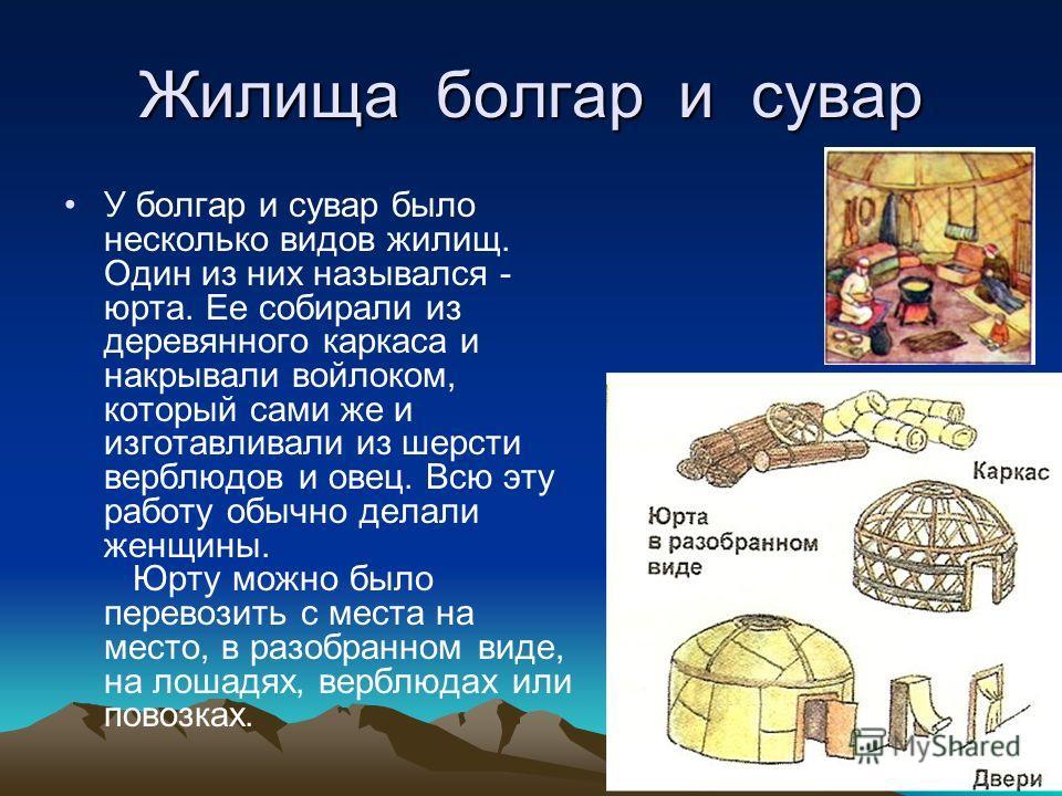 Жилища болгар и сувар У болгар и сувар было несколько видов жилищ. Один из них назывался - юрта. Ее собирали из деревянного каркаса и накрывали войлоком, который сами же и изготавливали из шерсти верблюдов и овец. Всю эту работу обычно делали женщины