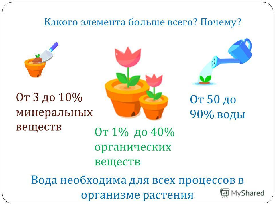 Растения состоят из … От 50 до 90% воды От 3 до 10% минеральных веществ Вода необходима для всех процессов в организме растения Какого элемента больше всего ? Почему ? От 1% до 40% органических веществ