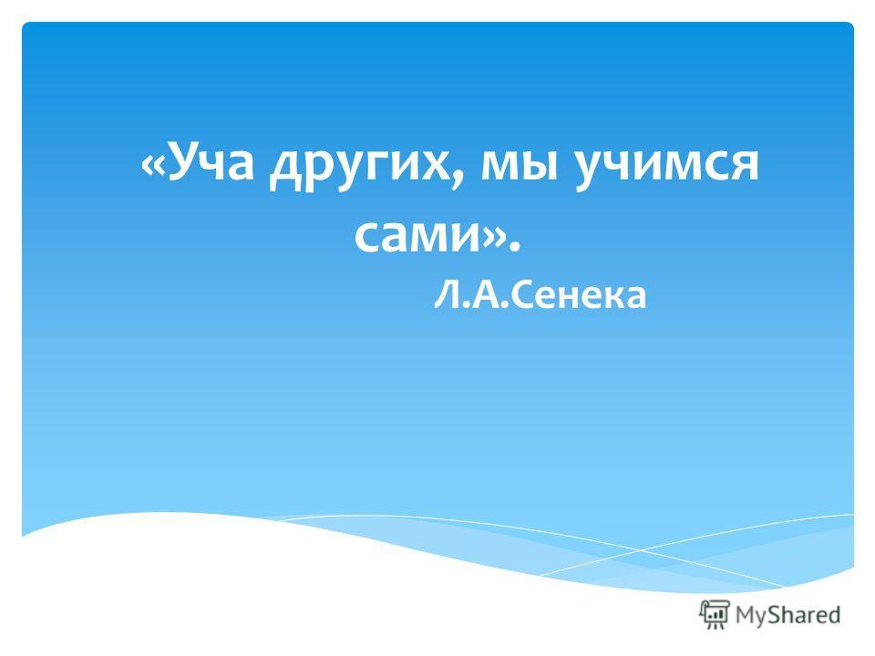 «Уча других, мы учимся сами». Л.А.Сенека