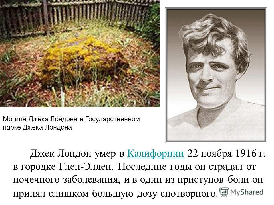 Джек Лондон умер в Калифорнии 22 ноября 1916 г. в городке Глен-Эллен. Последние годы он страдал от почечного заболевания, и в один из приступов боли он принял слишком большую дозу снотворного.Калифорнии Могила Джека Лондона в Государственном парке Дж