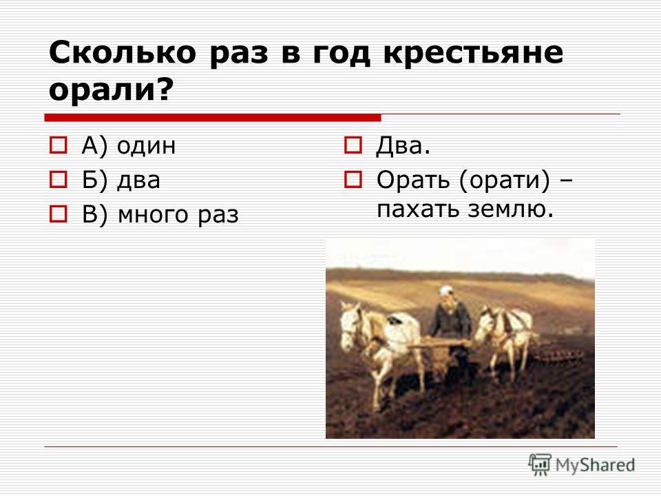 Сколько раз в год крестьяне орали? А) один Б) два В) много раз Два. Орать (орати) – пахать землю.