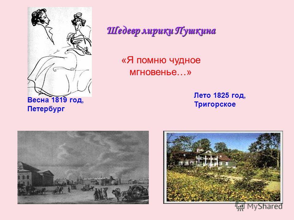 Шедевр лирики Пушкина Весна 1819 год, Петербург Лето 1825 год, Тригорское «Я помню чудное мгновенье…»