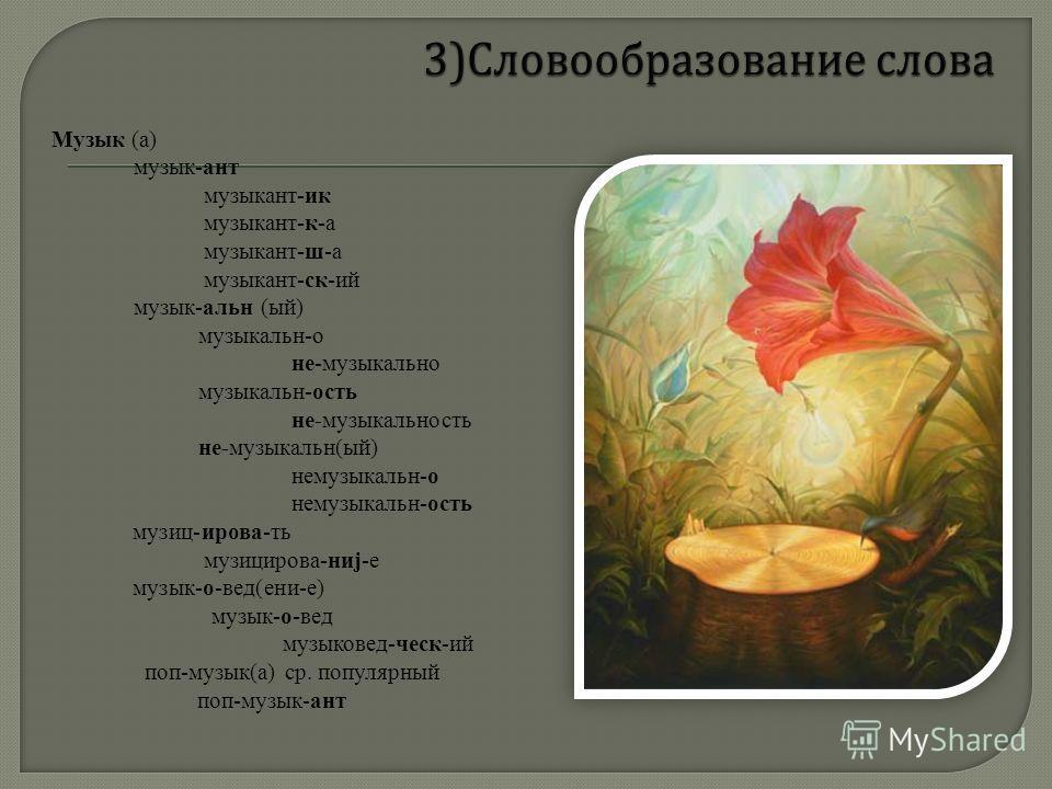 Музык (а) музык-ант музыкант-ик музыкант-к-а музыкант-ш-а музыкант-ск-ий музык-альн (ый) музыкальн-о не-музыкально музыкальн-ость не-музыкальность не-музыкальн(ый) немузыкальн-о немузыкальн-ость музиц-ирова-ть музицирова-ниj-е музык-о-вед(ени-е) музы